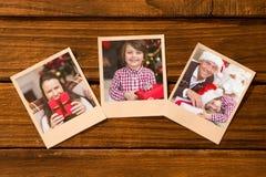 Sammansatt bild av ögonblickliga foto på trägolv Royaltyfri Fotografi