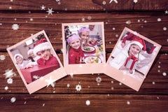 Sammansatt bild av ögonblickliga foto på trägolv Royaltyfria Foton