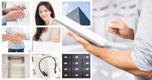 Sammansatt bild av affärsmannen som använder den digitala minnestavlan över vit bakgrund arkivfoto