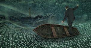 Sammansatt bild av affärsmannen som balanserar i fartyg Arkivfoto
