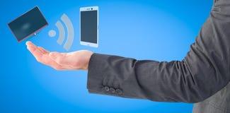 Sammansatt bild av affärsmannen som ut rymmer hans hand 3d Arkivfoto