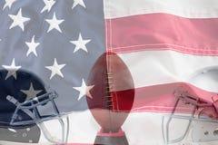 Sammansatt bild av amerikansk fotboll på utslagsplats vid sporthjälmar royaltyfri fotografi