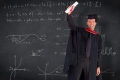 Sammansatt bild av att le den stiliga pojken som visar hans diplom till kameran Royaltyfria Bilder