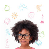 Sammansatt bild av bärande exponeringsglas för gullig elev Royaltyfria Bilder