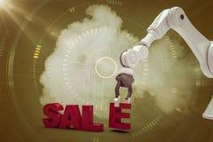 Sammansatt bild av bilden av den robotic armen som ordnar försäljningstext 3d Royaltyfria Foton