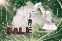 Sammansatt bild av bilden av den robotic armen som ordnar försäljningstext 3d Arkivfoton