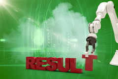 Sammansatt bild av bilden av den robotic armen som ordnar resultattext 3d Royaltyfri Foto