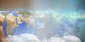 Sammansatt bild av bilden 3d av blålinjen på planetjord vid asken Arkivbild