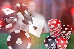 Sammansatt bild av bilden 3d av det svarta kasinotecknet med klubbasymbol stock illustrationer