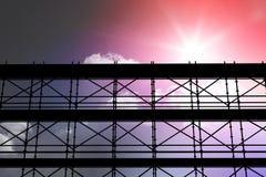 Sammansatt bild av bilden 3d av konstruktionsmaterialet till byggnadsställning Arkivfoto