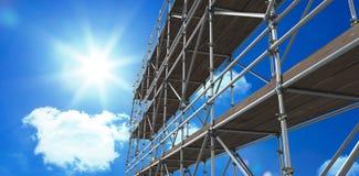 Sammansatt bild av bilden 3d av konstruktionsmaterialet till byggnadsställning Royaltyfri Bild