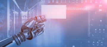 Sammansatt bild av bilden för datordiagram av det robotic plakatet 3d för arminnehav Royaltyfri Fotografi
