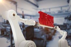Sammansatt bild av bilden för datordiagram av för lagarbete för robotic hand hållande text Arkivbilder