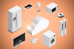 Sammansatt bild av bilden för datordiagram av symbolen 3d för moln och för hem- anordningar Royaltyfri Fotografi