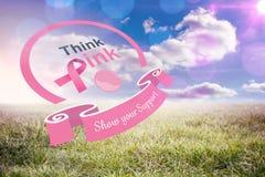 Sammansatt bild av bröstcancermedvetenhetmeddelandet Fotografering för Bildbyråer