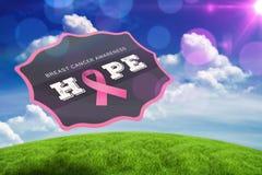 Sammansatt bild av bröstcancermedvetenhetmeddelandet Arkivbild