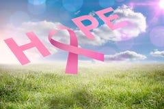 Sammansatt bild av bröstcancermedvetenhetmeddelandet Royaltyfri Fotografi