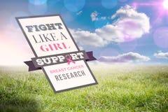 Sammansatt bild av bröstcancermedvetenhetmeddelandet Arkivbilder