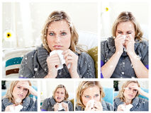 Sammansatt bild av collage av en förkyld kvinna Royaltyfria Foton
