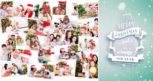 Sammansatt bild av collage av familjer som firar jul Arkivbild