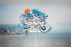 Sammansatt bild av datorsymboler och pilar på målarfärgfärgstänk Royaltyfri Bild
