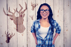 Sammansatt bild av den asiatiska kvinnan som ler till kameran arkivfoto