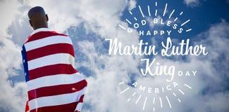 Sammansatt bild av den bakre sikten av den bärande amerikanska flaggan för man royaltyfri illustrationer