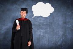 Sammansatt bild av den charmiga doktorand- pojken med hans diplom Arkivfoto
