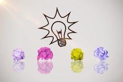 Sammansatt bild av den digitala bilden av den skrynkliga pappers- bollen Royaltyfria Foton