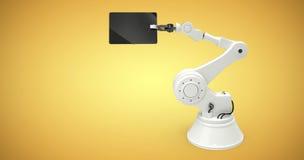 Sammansatt bild av den digitala bilden av roboten som rymmer den digitala minnestavlan 3d Fotografering för Bildbyråer