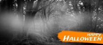 Sammansatt bild av den digitala bilden av lycklig halloween text Arkivbild