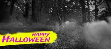 Sammansatt bild av den digitala bilden av lycklig halloween text Arkivbilder