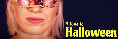 Sammansatt bild av den digitala bilden av tid till halloween text Royaltyfria Foton