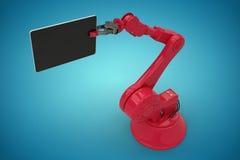 Sammansatt bild av den digitala frambragda bilden av den hållande datorminnestavlan 3d för robot Arkivbild