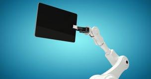 Sammansatt bild av den digitala frambragda bilden av roboten med den digitala minnestavlan 3d Royaltyfri Fotografi