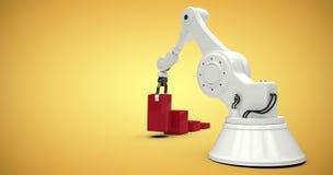 Sammansatt bild av den digitala frambragda bilden av roboten som ordnar röda leksakkvarter in i stångghaph 3d Arkivbild