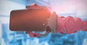 Sammansatt bild av den digitala frambragda bilden av robotvisningmobiltelefonen 3d Royaltyfria Bilder