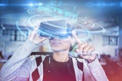 Sammansatt bild av den digitala manöverenheten av huset 3D Arkivfoton