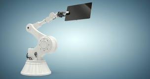 Sammansatt bild av den digitala minnestavlan och roboten mot vit bakgrund 3d Royaltyfri Fotografi