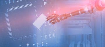 Sammansatt bild av den digitala sammansatta bilden av det robotic vita plakatet 3d för arminnehav Royaltyfri Bild