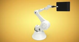 Sammansatt bild av den digitala sammansatta bilden av roboten och den digitala minnestavlan 3d Royaltyfri Fotografi