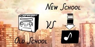Sammansatt bild av den digitala sammansatta bilden av radion och nedladdningmusiksymbolet med text royaltyfri illustrationer