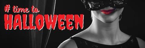 Sammansatt bild av den digitala sammansatta bilden av tid till halloween text Arkivfoto