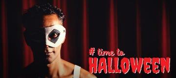 Sammansatt bild av den digitala sammansatta bilden av tid till halloween text Arkivfoton