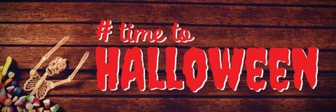 Sammansatt bild av den digitala sammansatta bilden av tid till halloween text Fotografering för Bildbyråer