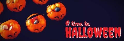 Sammansatt bild av den digitala sammansatta bilden av tid till halloween text Arkivbild