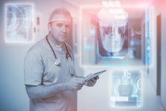Sammansatt bild av den digitalt frambragda bilden av den mänskliga skallen 3d Arkivbilder