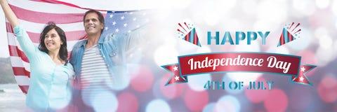 Sammansatt bild av den digitalt frambragda bilden av det lyckliga självständighetsdagenmeddelandet stock illustrationer