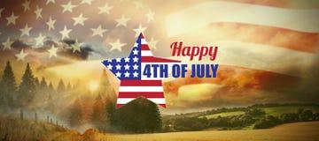 Sammansatt bild av den digitalt frambragda bilden av stjärnaformamerikanska flaggan med text Royaltyfria Foton