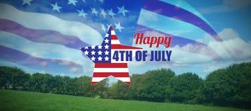 Sammansatt bild av den digitalt frambragda bilden av stjärnaformamerikanska flaggan med text vektor illustrationer